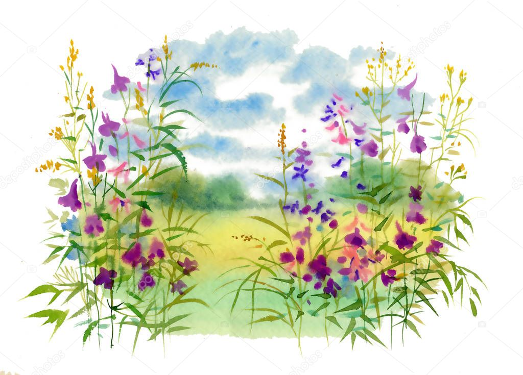 Landscape with flowers, watercolor illustration