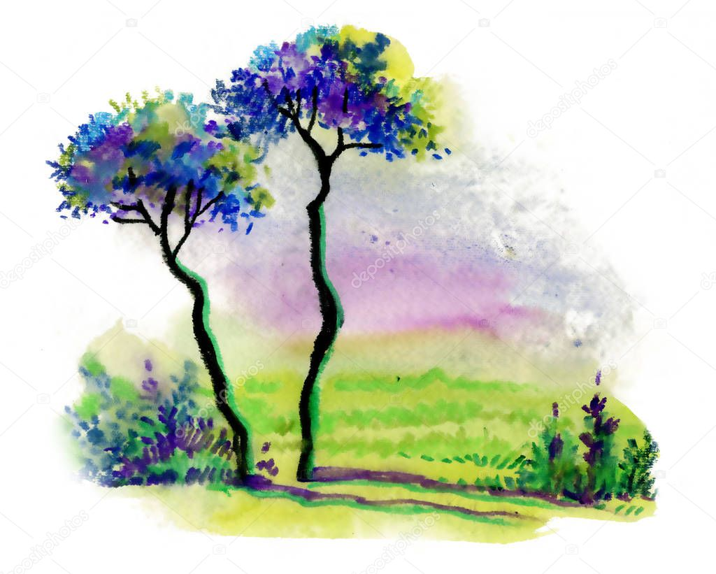 Landscape with trees, watercolor illustration