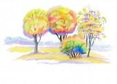 podzimní krajina. Akvarel ilustrace