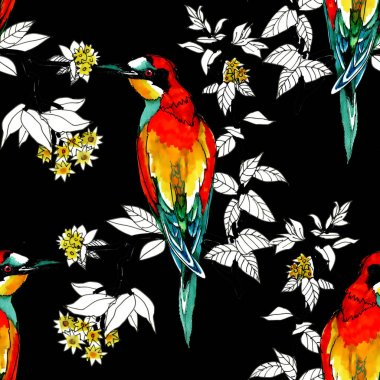 Watercolor Wild exotic birds on flowers seamless pattern stock vector