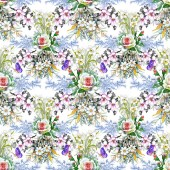 Fotografie Watercolor seamless pattern with beautiful roses  and wildflowers