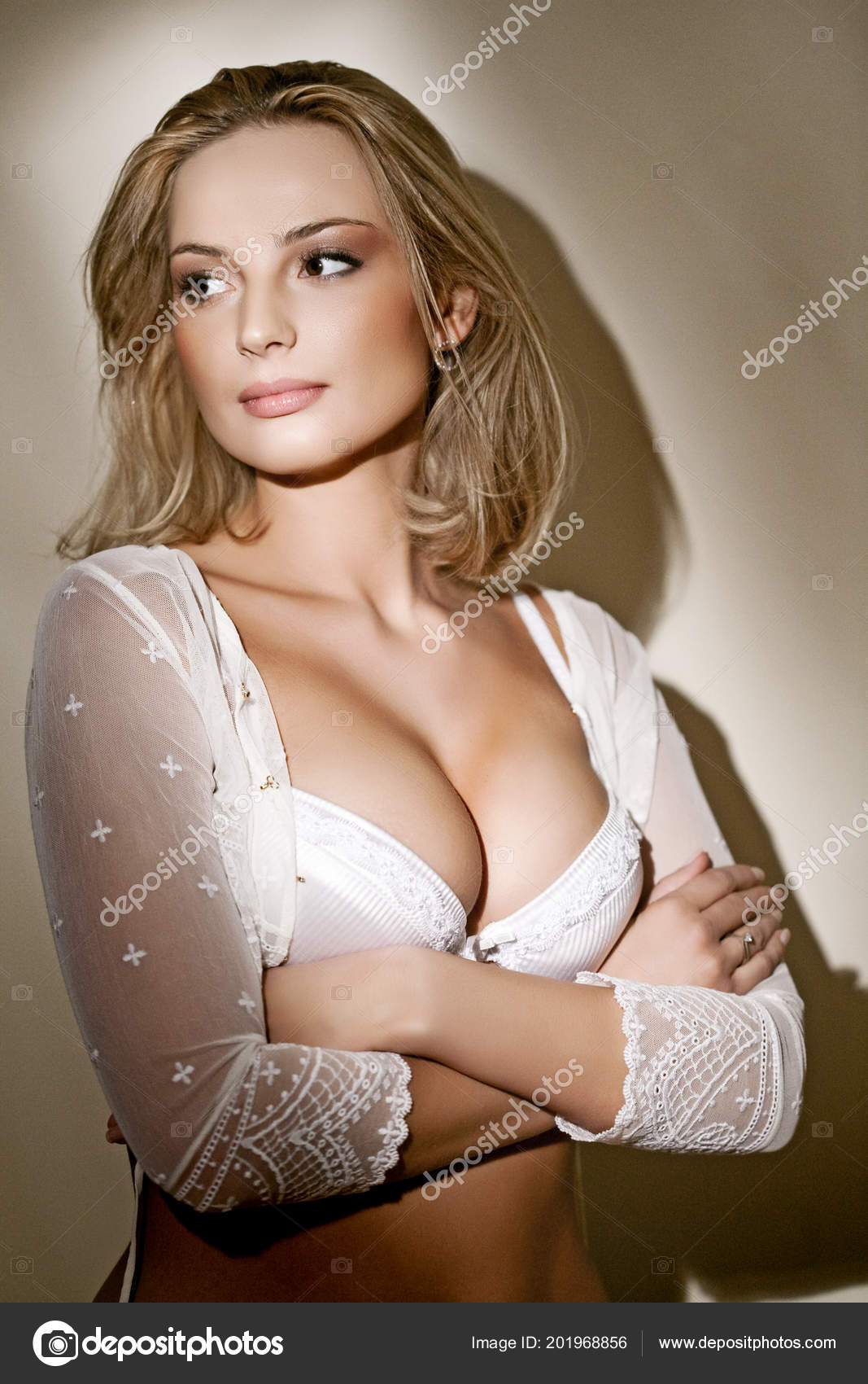 5a683aa87 Young Beautiful Blond Woman Portrait Studio Shot — Stock Photo ...