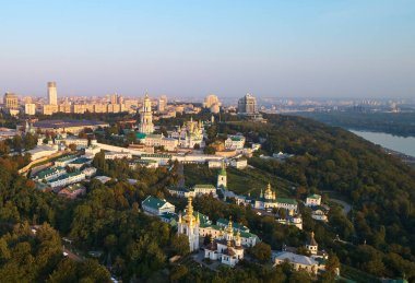 Panorama of Kyiv from Mother Motherland statue with Kyiv-Pechersk Lavra in Kyiv, Ukraine