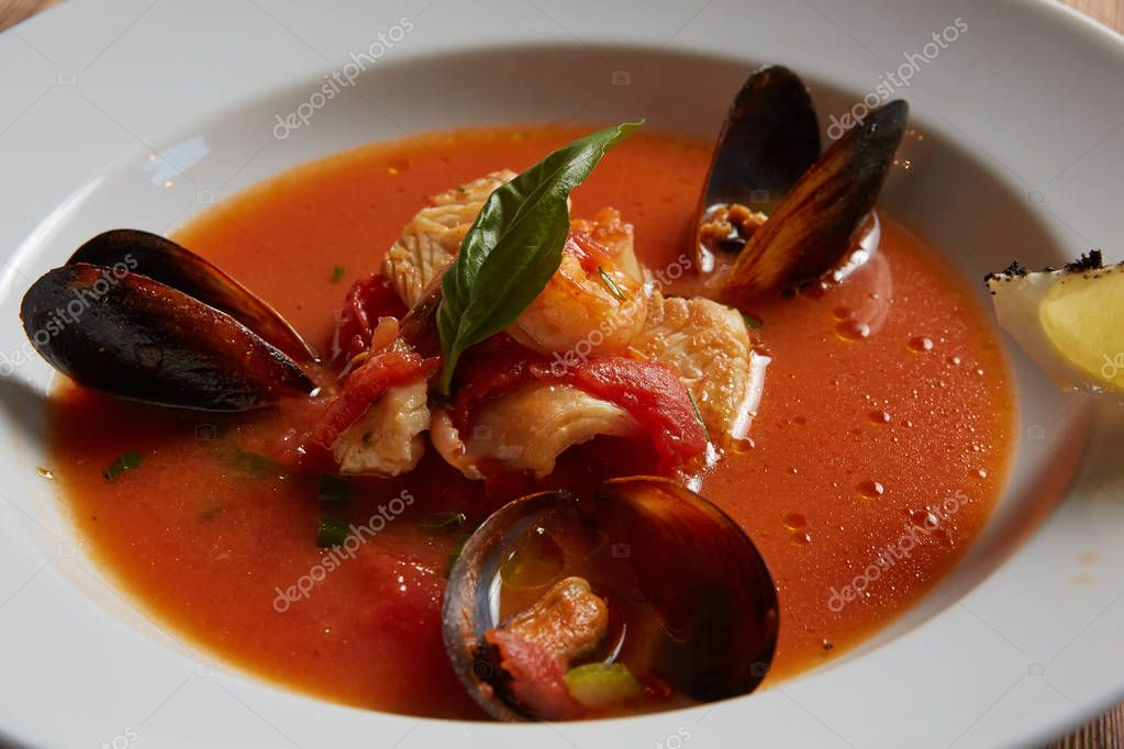 Close up of a bowl of italian seafood soup