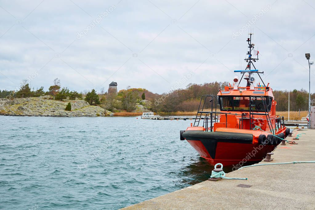 Stockholm, Sweden - November 3, 2018: Coastal safety, salvage and rescue boat.