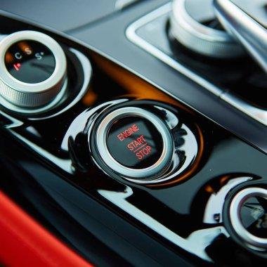 Start stop engine modern new car button. stock vector