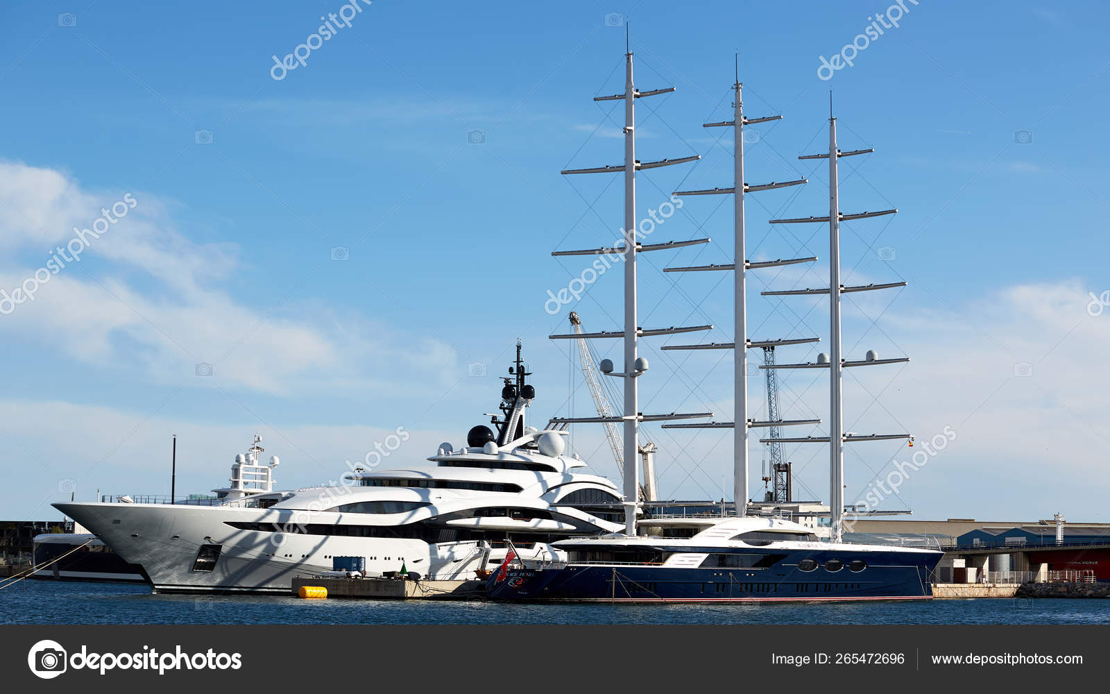 Tarragona, Spain - April 6, 2019: Luxury yacht BLACK PEARL parked at