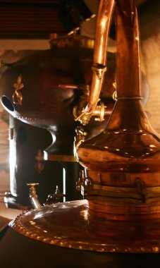 Medieval traditional distiller, cube made from copper production of alcohol, cognac, whiskey. Fragment of copper old distiller for alcohol production. Ancient traditional food technologies for alcohol stock vector