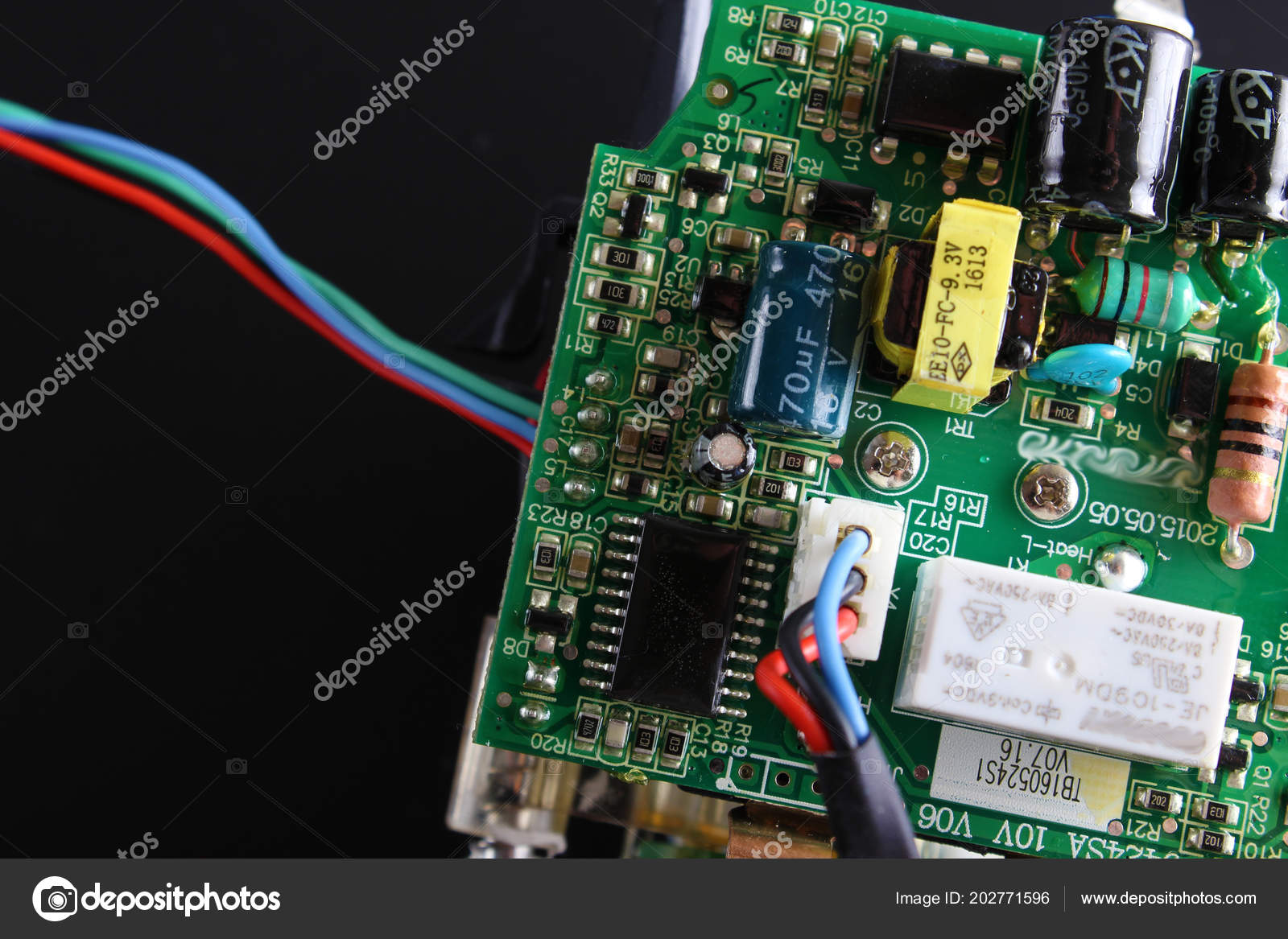 Electronic Circuit Components Black Background Stock Photo And