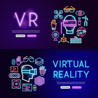 Virtual Reality Neon Website Banners