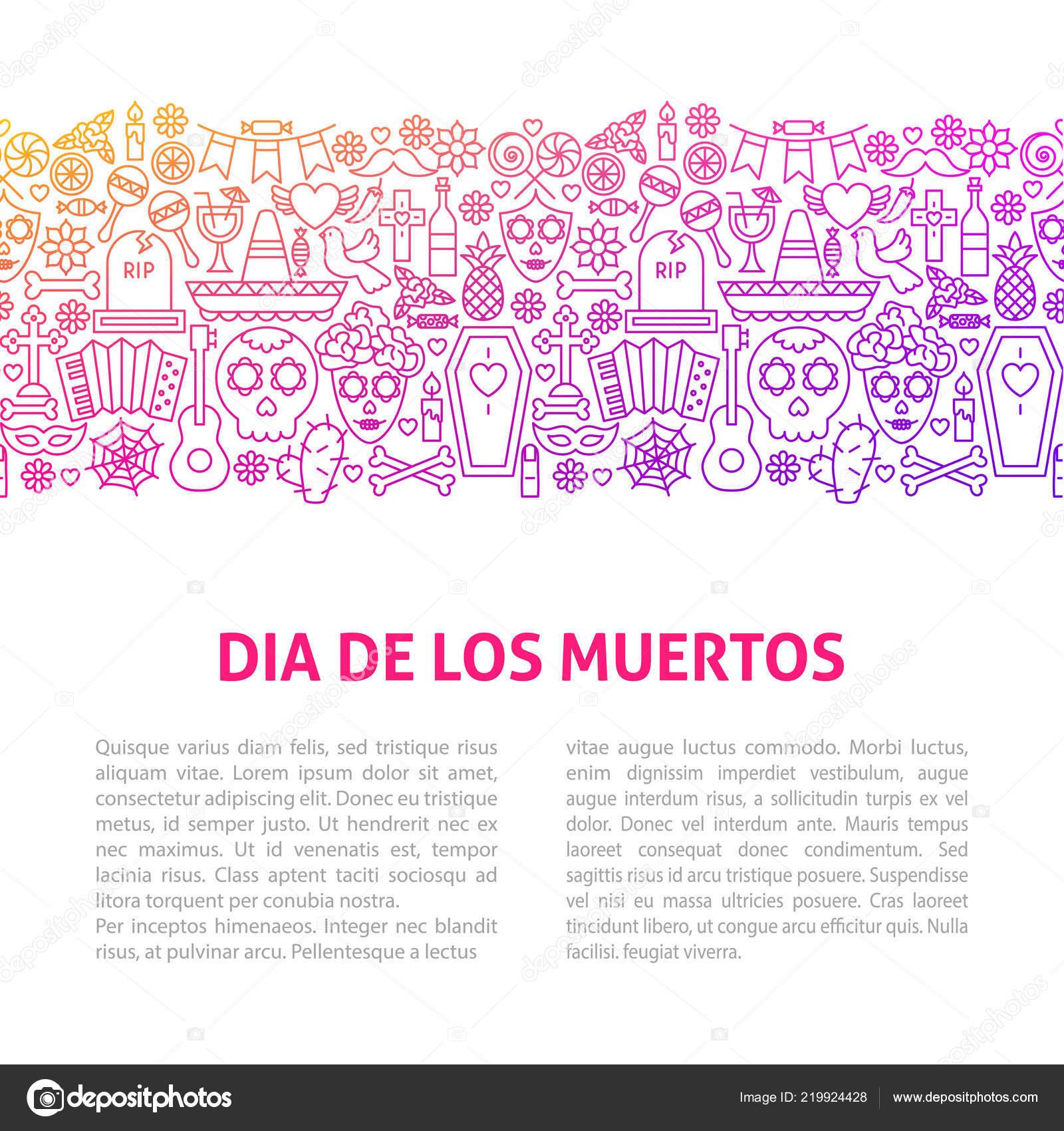 Dia De Los Muertos Line Design Template — Vector de stock ...