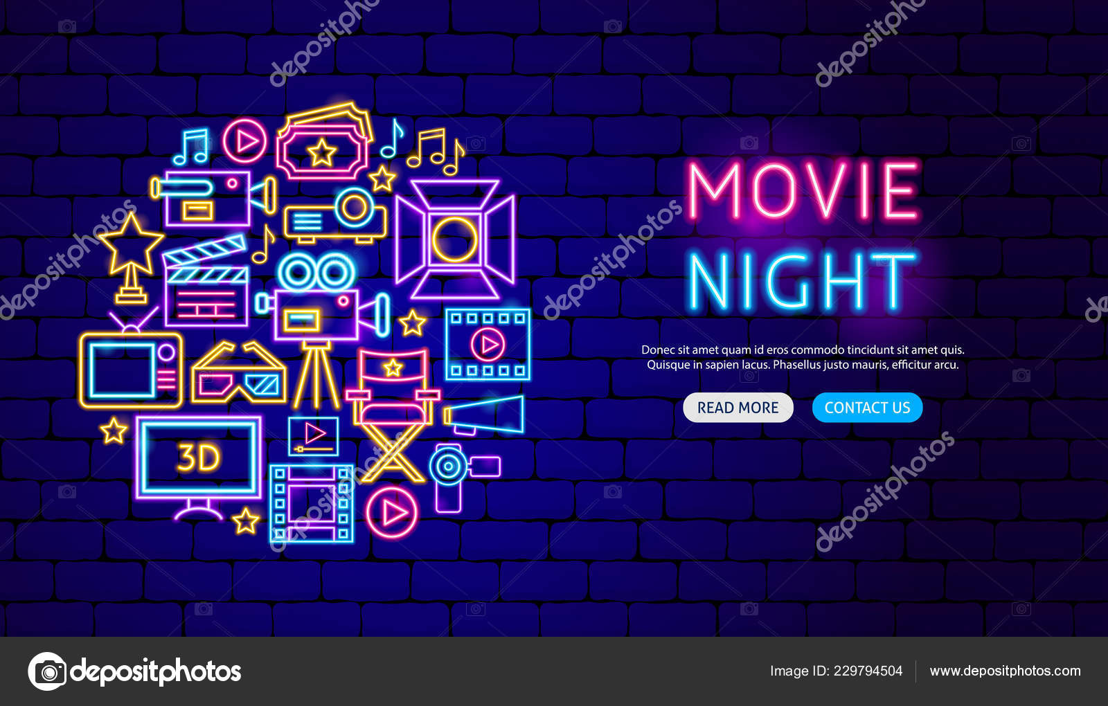 Movie Neon Banner Design Stock Vector C Anna Leni 229794504