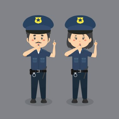 Stock Vector Police Blow The Whistle icon