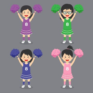 Stock Vector Cheerleader Character Set icon