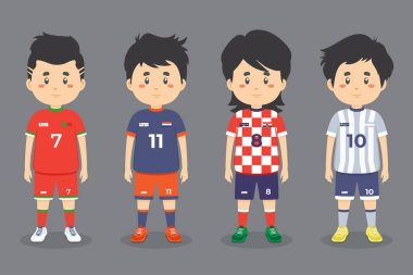 Stock Vector Soccer Character Set icon