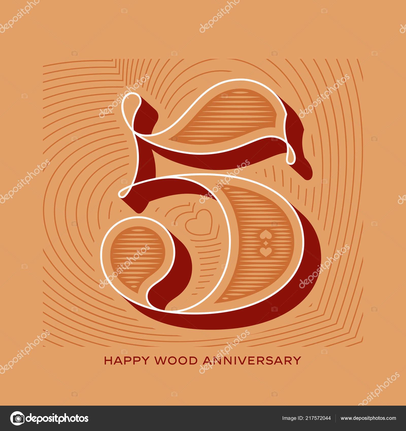 Wood 5Th Wedding Anniversary Greeting Card — Stock Vector