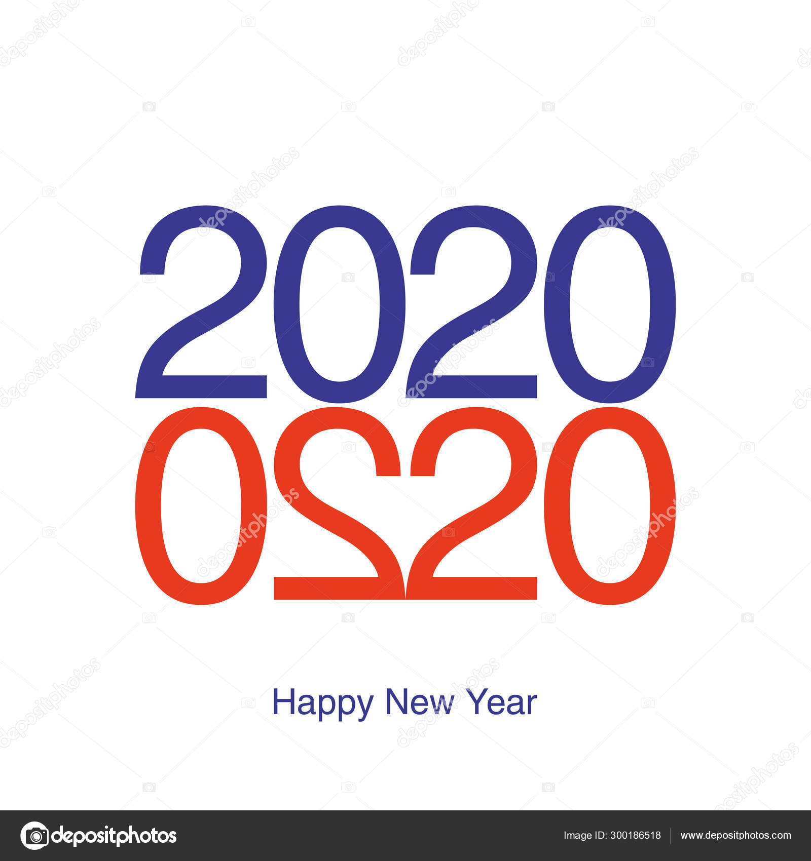Happy New Year 2020 Greeting Card 2020 Year Typography Love