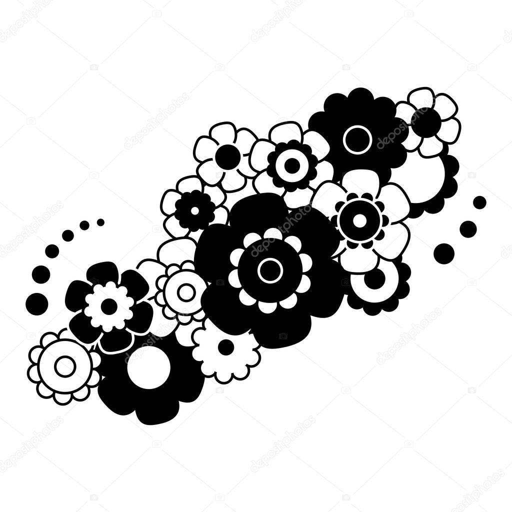 Black And White Simple Flower Bouquet In Flat Style Vector Illustration Premium Vector In Adobe Illustrator Ai Ai Format Encapsulated Postscript Eps Eps Format