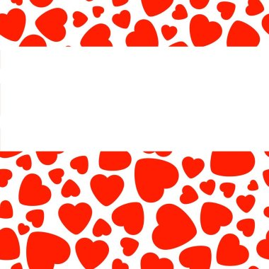 Frame With Red Heart On White Background. Graphic Design In The Concept of Love. Love Symbol And Emblem for Valentines Day, Wedding, Birthday and Holiday. Vector Card and Template with Copy Space.