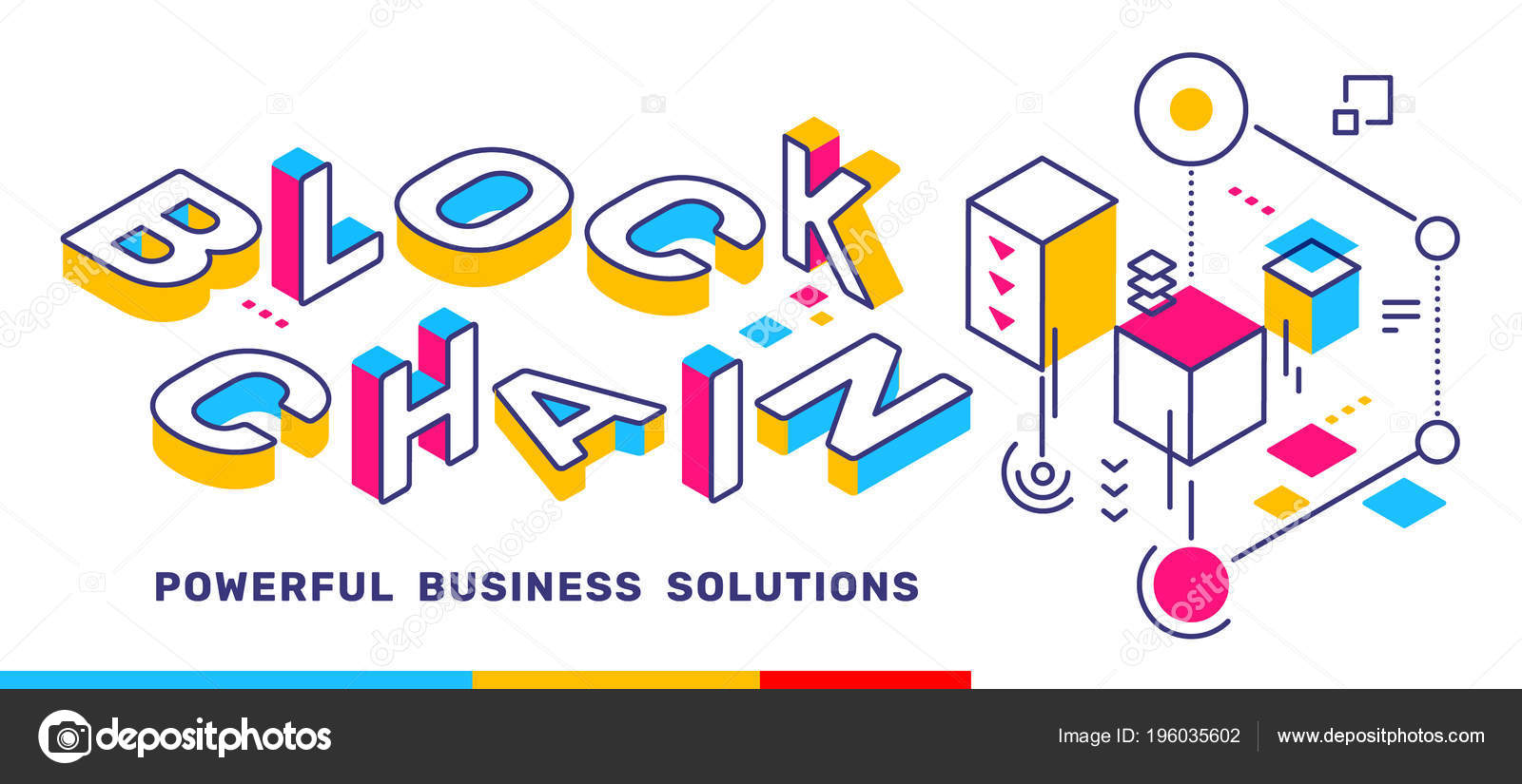 Vector creative horizontal illustration word lettering typography vector creative horizontal illustration of 3d word lettering typography with business title block chain colorful concept on white background spiritdancerdesigns Image collections