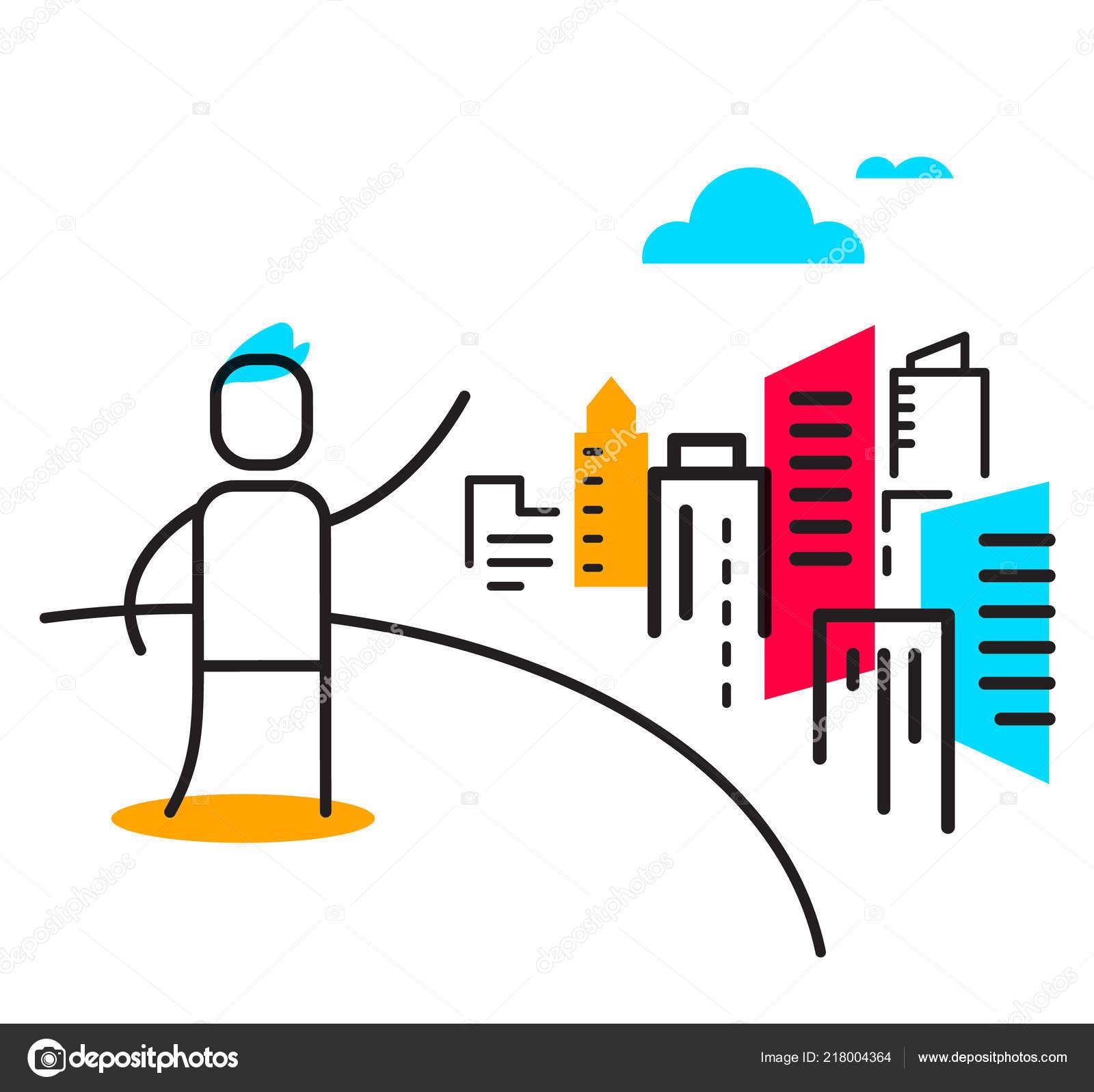 1ccdeefa1d7 Bem-vindo ao conceito linear de cidade grande. Linha Lisa arte estilo  design para web