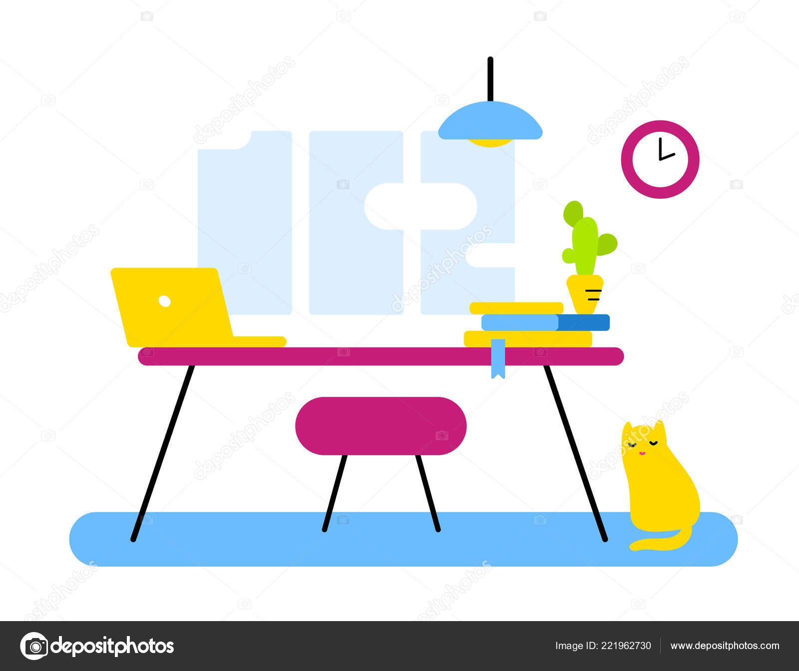 7736ff863acd Design de estilo de plano de trabalho abstrato, departamento do escritório  para a web, banner, interior liso. Ilustração em vetor de cor vista frontal  ...