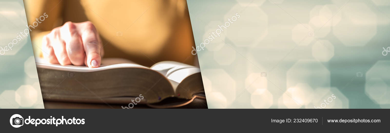 Close Woman Reading Bible Hard Light Panoramic Banner Stock Photo C Thodonal 232409670