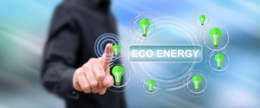 Man touching an eco energy concept