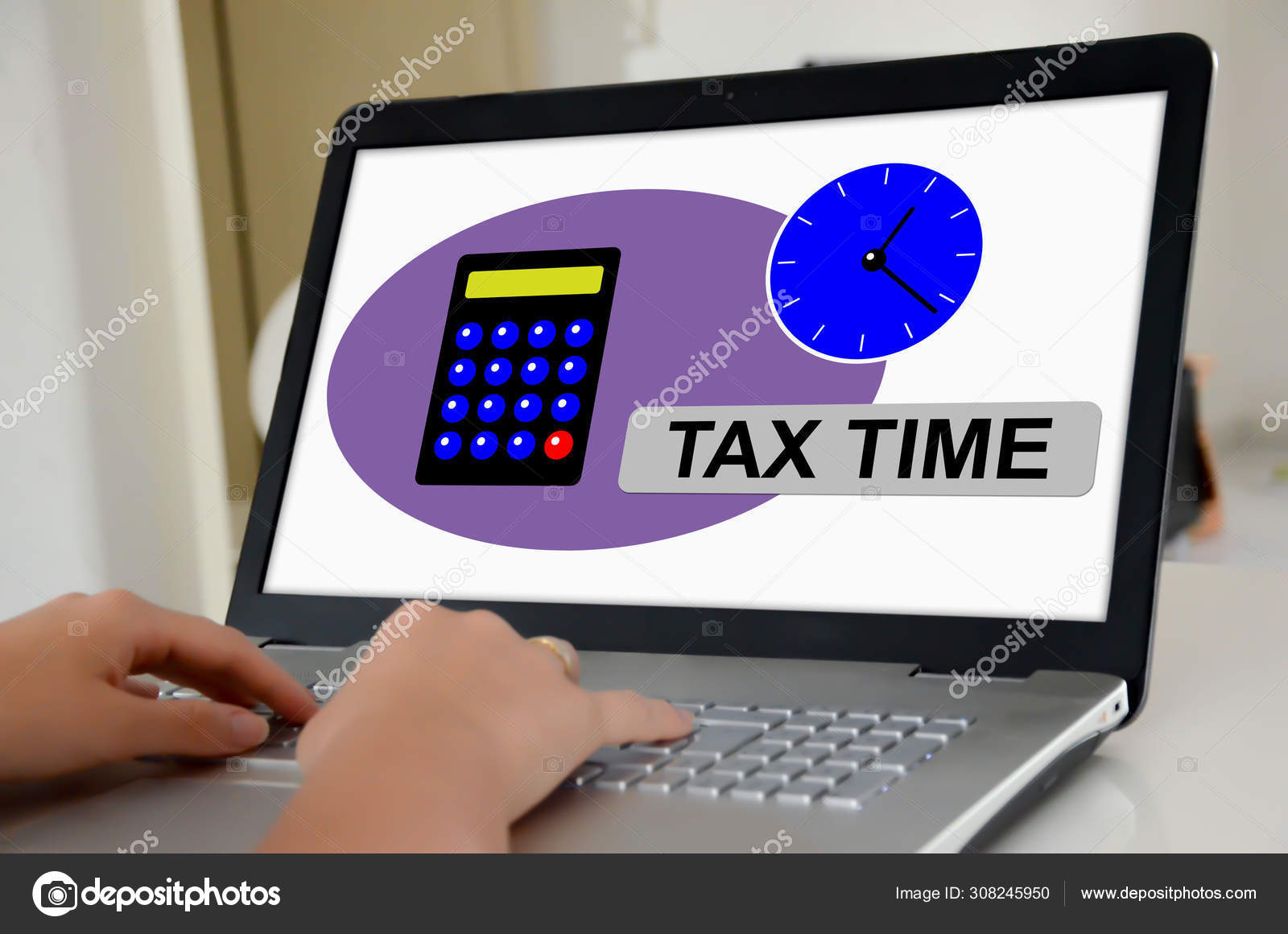 Tax Time Concept On A Laptop Screen Stock Photo C Thodonal 308245950
