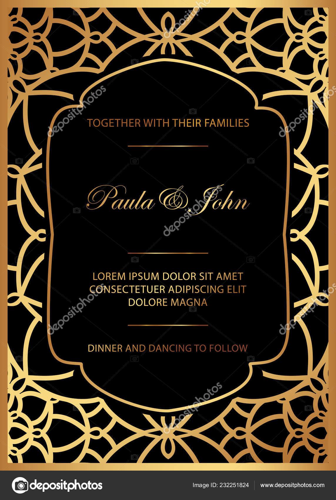 Black wedding invitation templates | Stylish Gold Black Wedding Card Royal  Vintage Wedding Invitation Template — Stock Vector © nicemosaic #232251824