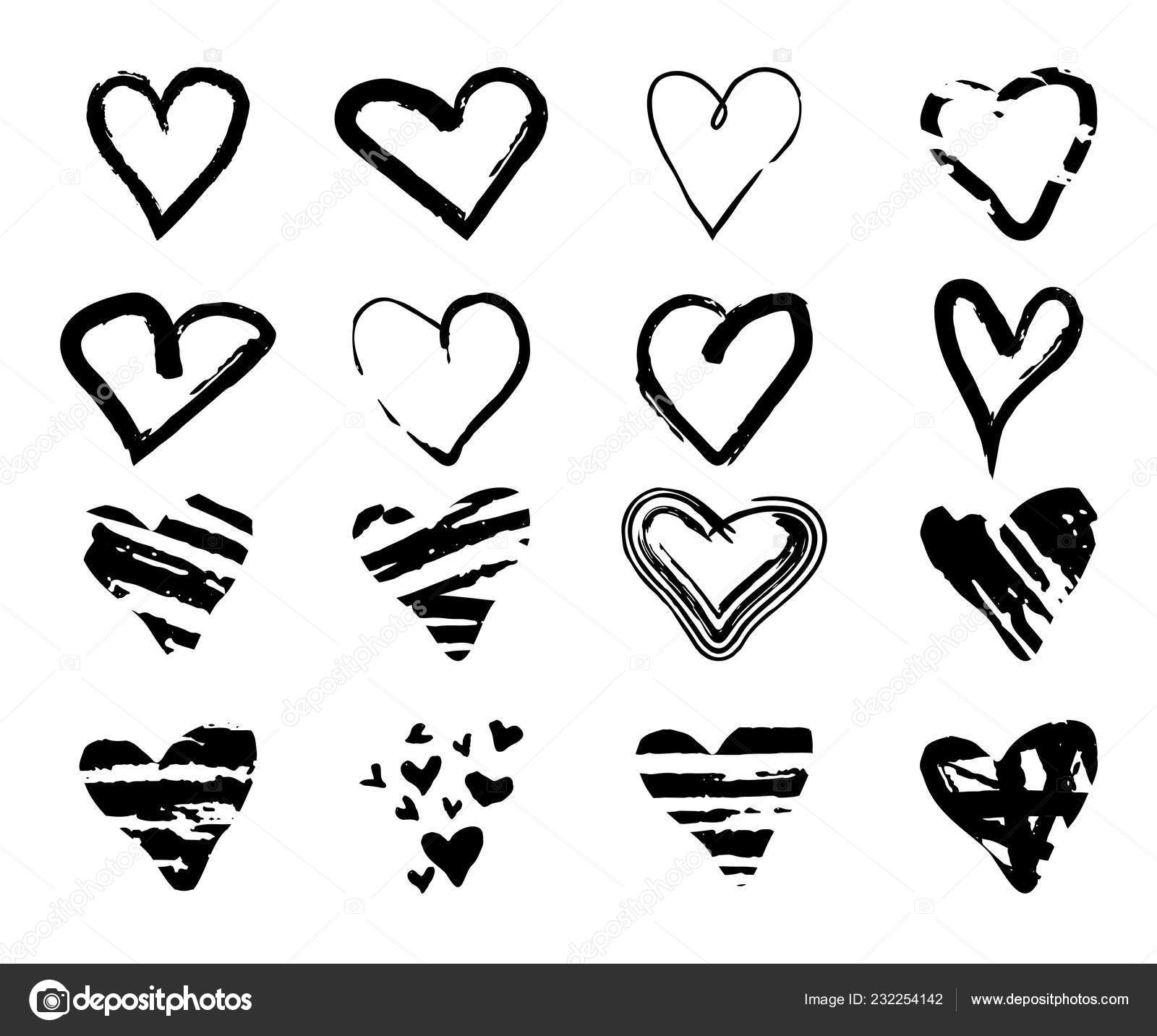 Sada Rucne Kreslenou Grunge Srdce Pro Pouziti Designu Cerny Skica