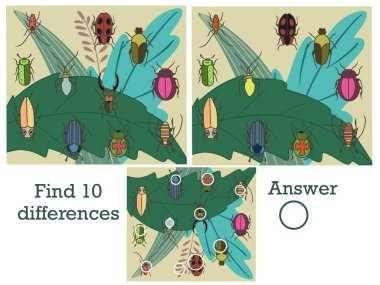 Find 10 differences. Find the differences. Logical game. Bugs