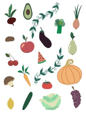 Set of vegetables and fruits. Logical game