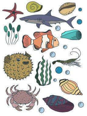 Set of underwater world. Fishes. Seaweed
