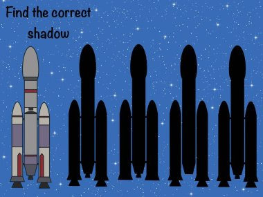 Find the correct shadow. Logical game. Space. UFO. Rocket