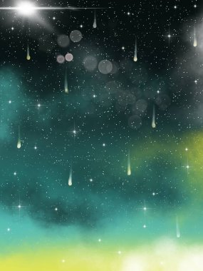 Magic green space. Starry sky.