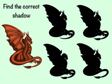 Find the correct shadow. Logical game. Dragon