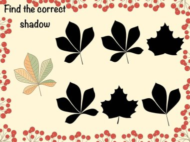 Find the correct shadow. Logical game. Autumn