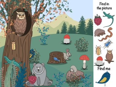 Find in the picture. Logical game. Forest and animals
