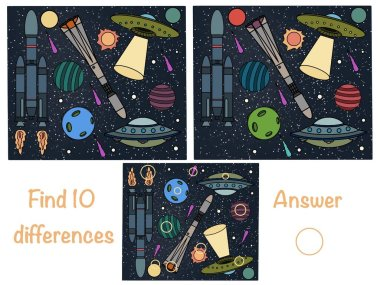 Find the differences. Find 10 differences. Logical game. Space. Ufo. Rocket
