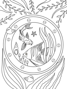 Coloring page. Ocean and underwater world