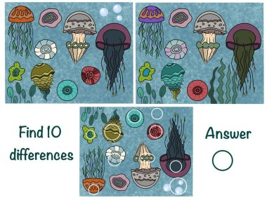 Find the differences. Logical game. Underwater world. Jellyfish
