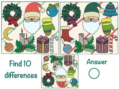 Find the differences. Logical game. Christmas. New year