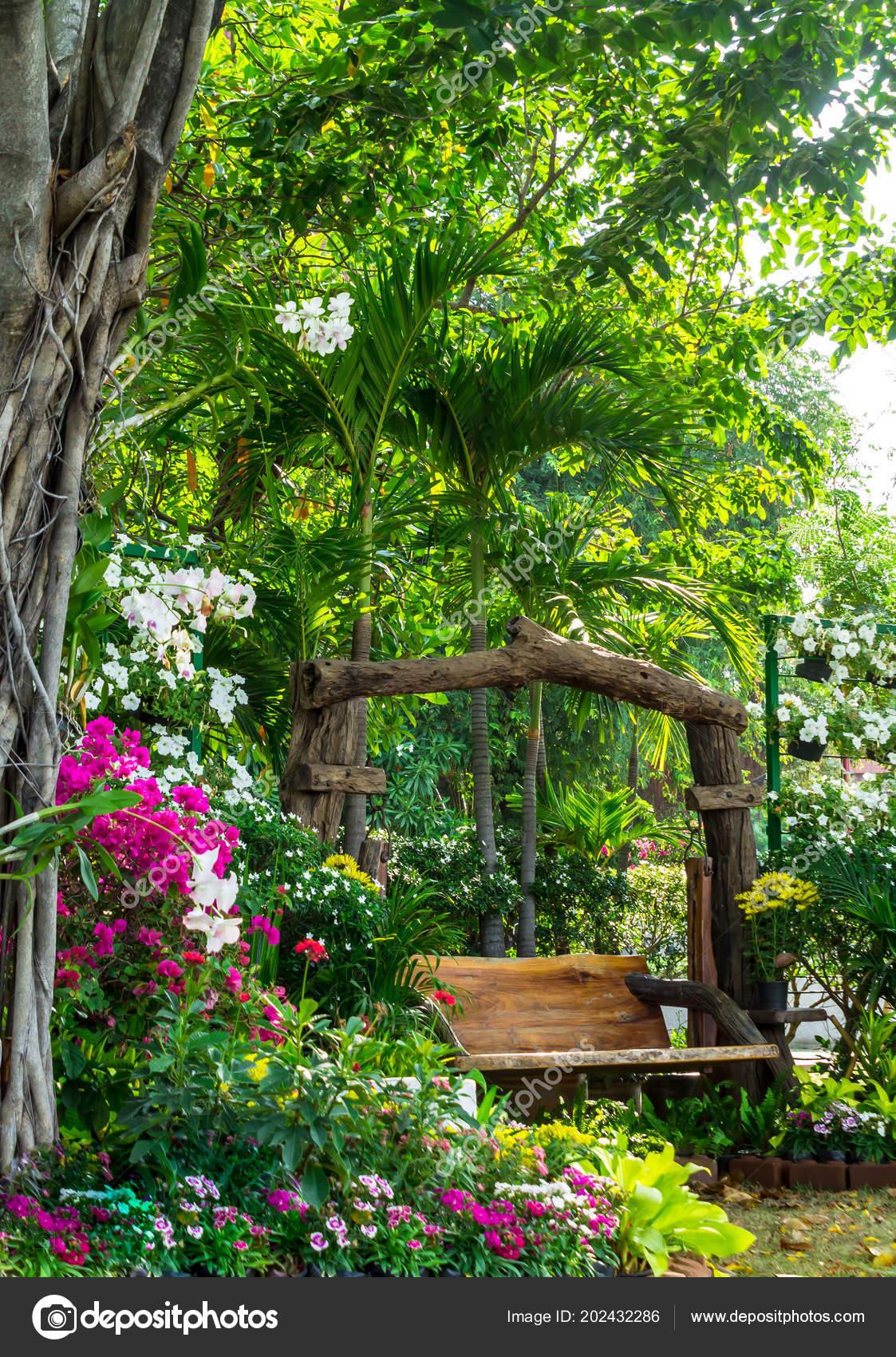 Chaise Bois Dans Jardin Fleurs Maison Confortable Été ...