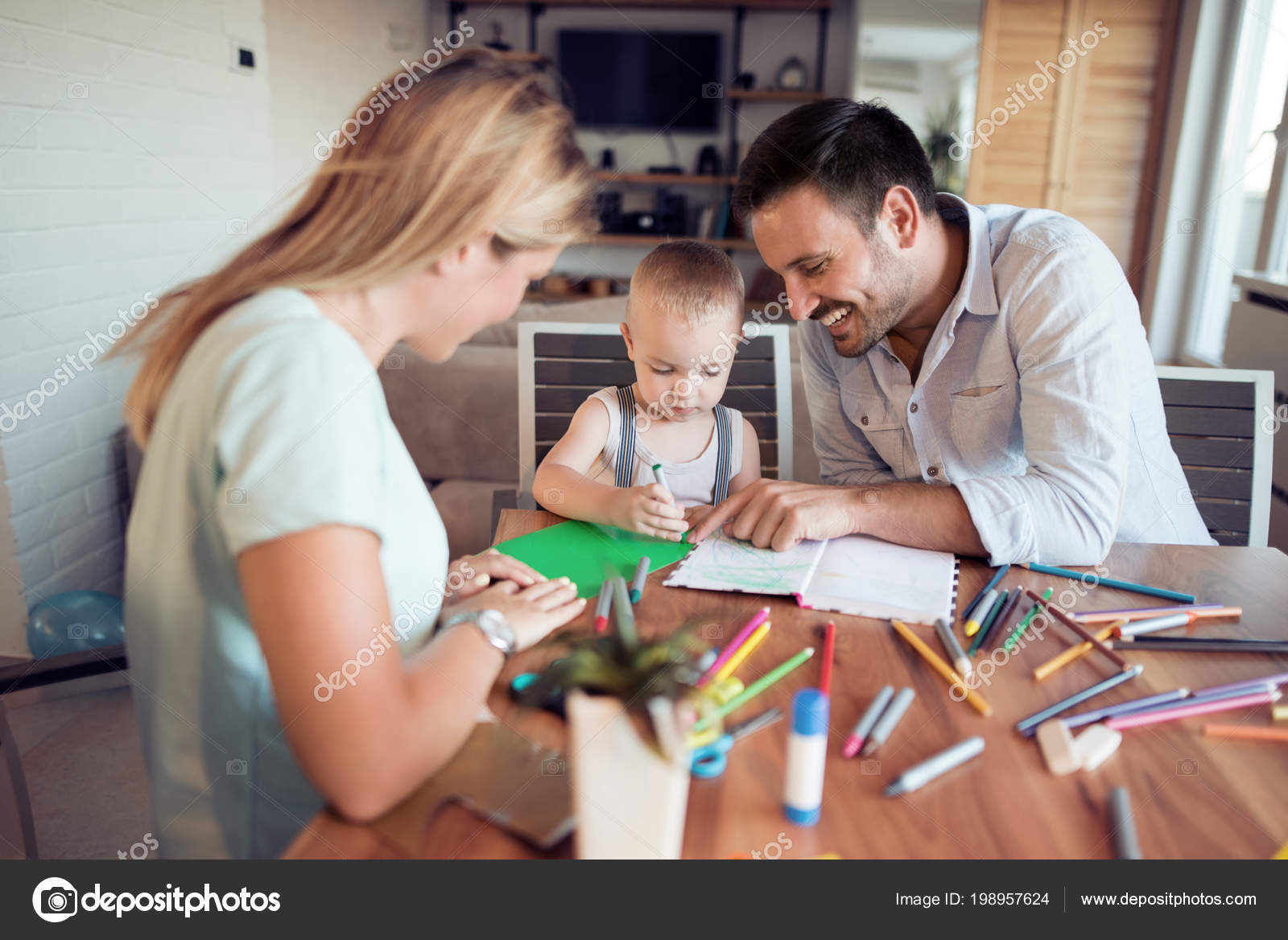 Mom Dad Drawing Son Having Fun Living Room Stock Photo