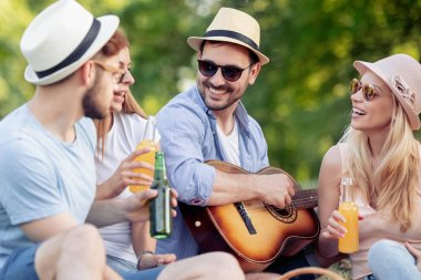 Cheerful group of friends with guitar having fun at picnic