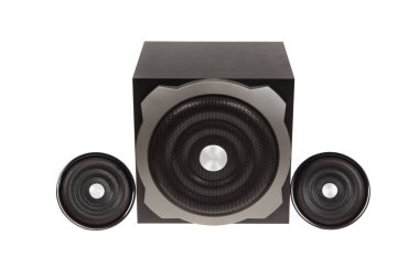 Modern black computer speakers with subwoofer isolated on white