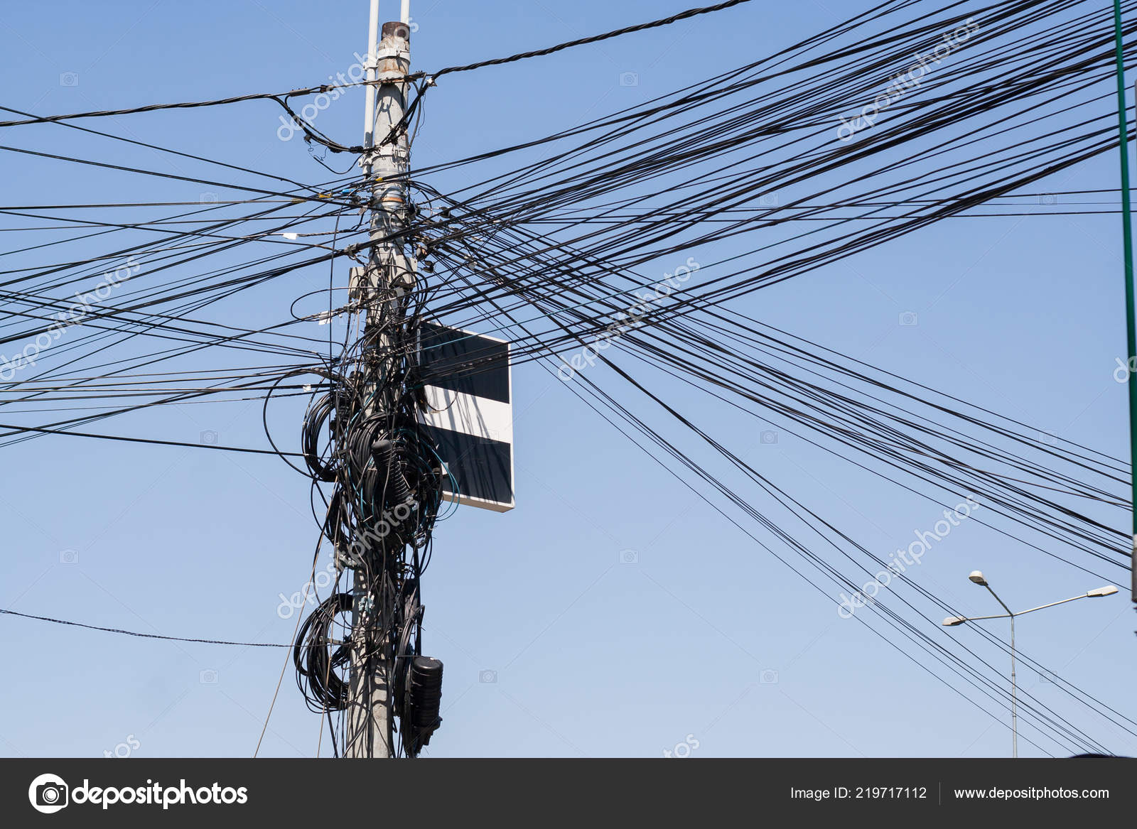 Many Electrical Wires Pole Messy Electric Cables Stock Photo C Dechevm 219717112