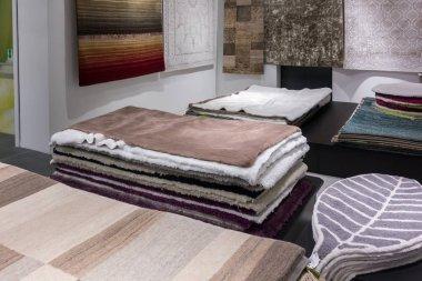 Many carpets in the store. Carpet shop. Carpet market