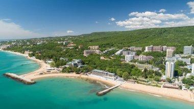 Aerial view of the beach and hotels in Golden Sands, Zlatni Piasaci. Popular summer resort near Varna, Bulgaria stock vector